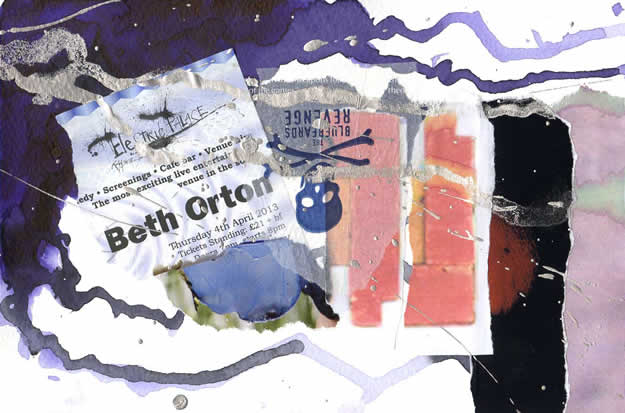 012 - Beth Orton wrote with love kiss kiss kiss. Collage by David Smith