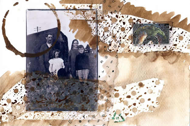 104 - only father knew the incredible truth. Collage by David Smith